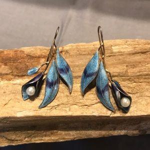 Sterling Silver and Enamel Flower Earrings